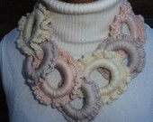 Crochet necklace, belt, seperate circles, a mix of 50% milk base protien yarn and high quality acrylic yarn.