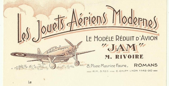 Antique french advertising invoice - model aircraft - Letterhead Engravings and Typograph