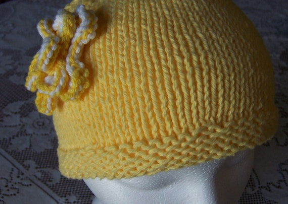 Chemo Hat Sleep Cap - Womens, soft cotton- sleep cap, with flower accent , yellow, donation to cancer society