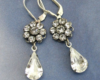 Crystal Flower Drop Earrings Clear with Sterling Silver Earwire Bridal Wedding Bridesmaid Jewelry
