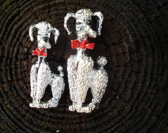 Silvertone Poodle Pin Pair
