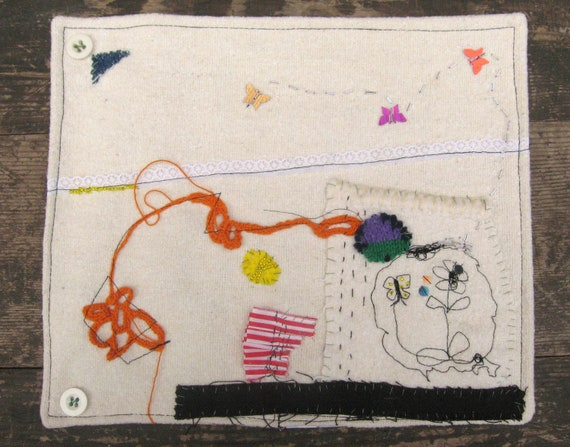 Small Textile Wall Hanging made from vintage blanket and fabrics, hand and machine embroidery,. Gift