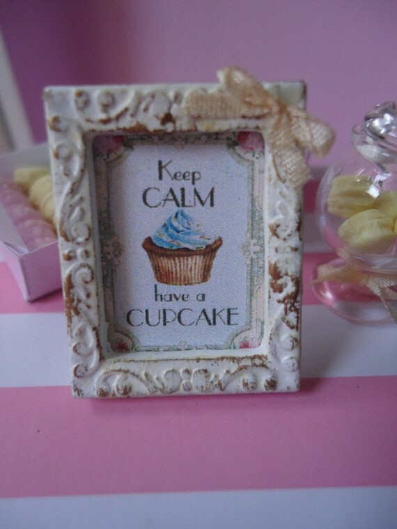 """Mini-framed picture """"Keep calm"""". 1/12th scale"""