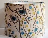 Handmade drum lampshade in Hedgerow by Angie Lewin