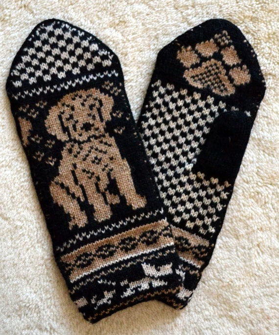 Hand crafted 100% Wool Mittens, folk art, Fair Isle,  yellow labrador dog puppy