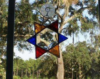 """Rainbow Bevel Star - 6 Points Suncatcher -5"""" x 5""""  Finished Size  - Wonderful Gift Idea for the Holidays"""