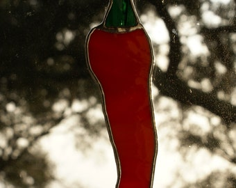"""Stained Glass Vivid """"Red Chili Pepper"""" Suncatcher - 7.5 x 1.75 - Unique Ornament/Package Embellishment"""