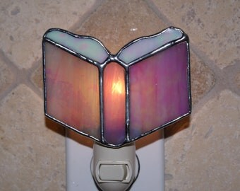 Prayer Book Stained Glass Night Light - Pink and White Iridescent - Authentic Stained Glass