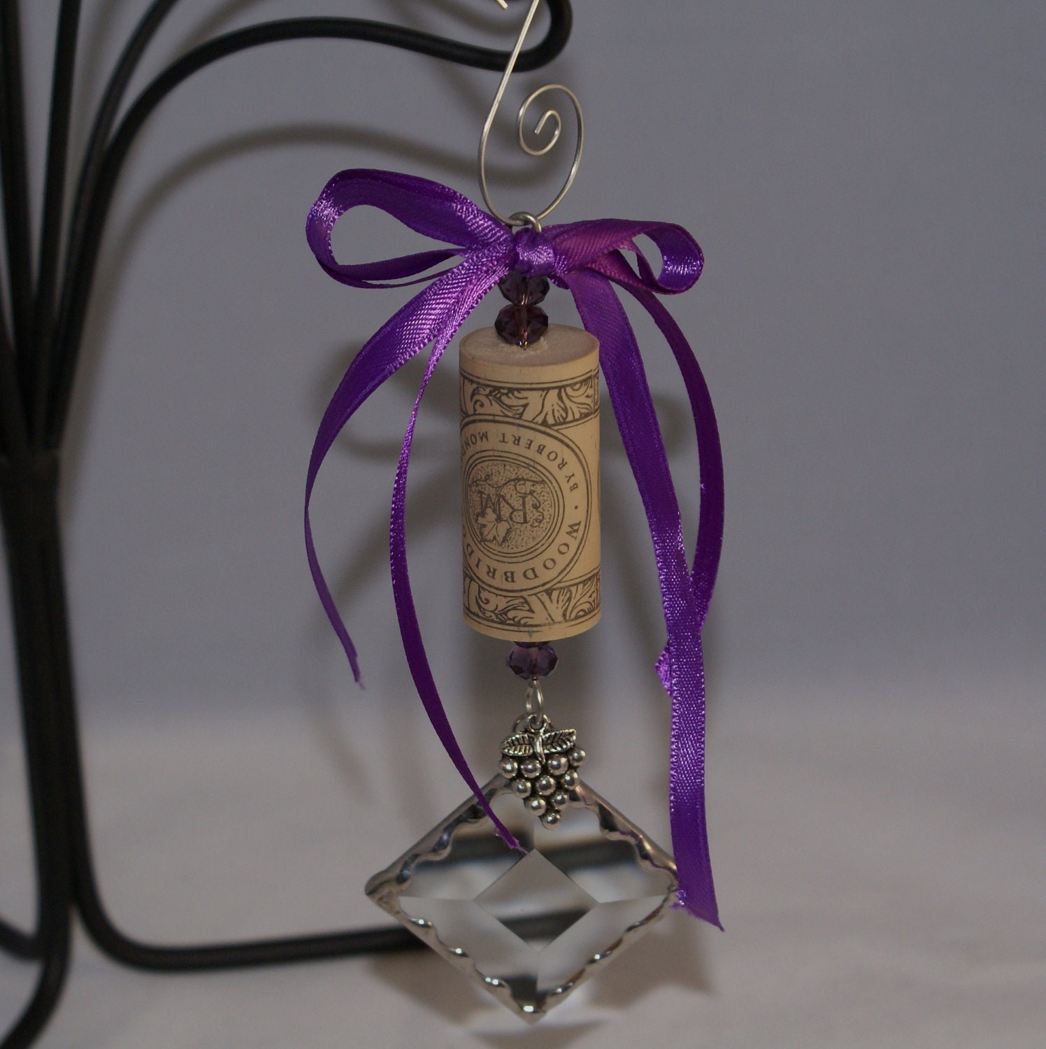 Wine Cork Ornament with Bevel and Tibetan Silver Charm