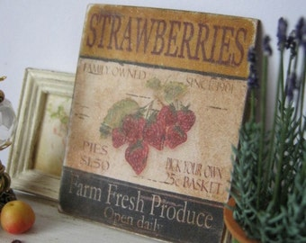 Antiqued Strawberries Sign for Dollhouse