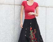 Black Casual Indian Wide Leg Skirt Pants With Embroidery Pattern - NC389