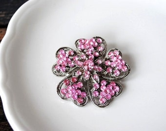 1960s Pink Crystal Rhinestone Brooch Pin Flower, Valentine Wedding Jewelry Silver Layered Enameled