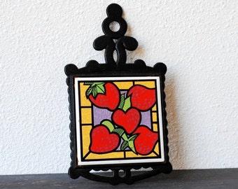 Vintage Black Cast Iron Trivet, Red Strawberry Heart Ceramic Tile, Retro Kitchen Decor