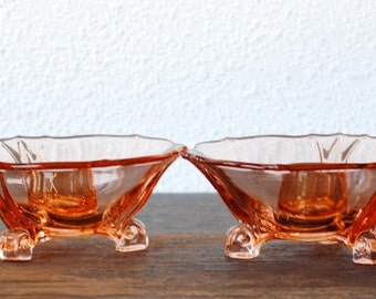 Rare Liberty Works Depression Glass Pink Three Toed Candlesticks Holders, Curled Scroll Foot Pair, 1930s