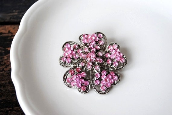 1960s Pink Crystal Rhinestone Brooch Pin Flower, Valentine Wedding Jewelry Silver Layered Enameled