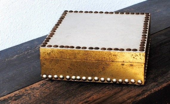 Vintage Brass Wood Box, Silver Lid Riveted Unique Signed Italian Franco Tacchi, Florence Italy