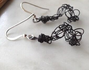 Black Spiral Earrings Mini Spiral Knit Wire Earrings Lightweight Colorful Earrings