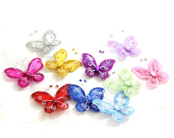 Glitter Butterflies for Floral Decorations, Craft Projects, and Gift Packaging 10pcs/pk