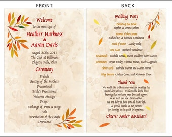 SET OF Vintage Autumn Branches Wedding Programs - custom colors available - 1.00 each