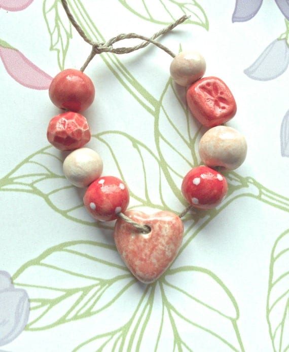 Handmade Ceramic Coral Bead Set with Marbled Heart Charm