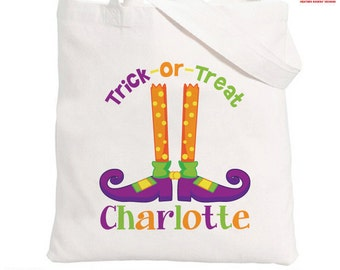 Personalized Halloween Trick or Treat Bag - Personalized Witch Shoes Halloween Bag - Personalized Halloween Trick or Treat Bag