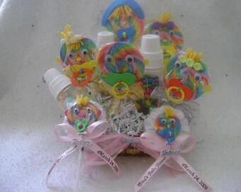 Hard lollipop baby shower gift package