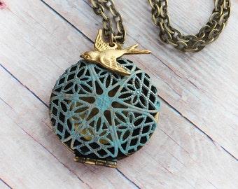 Bird Locket Necklace Jewelry Blue Patina Filigree Country Wedding Bridesmaid Gift Golden Bird Locket Jewelry