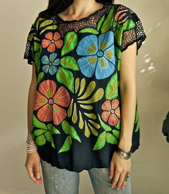 Hand Painted Floral Bali Crochet Blouse