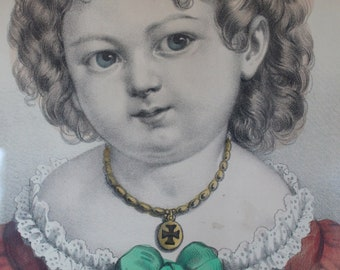 "Antique Currier & Ives Lithograph ""Little Sister"""