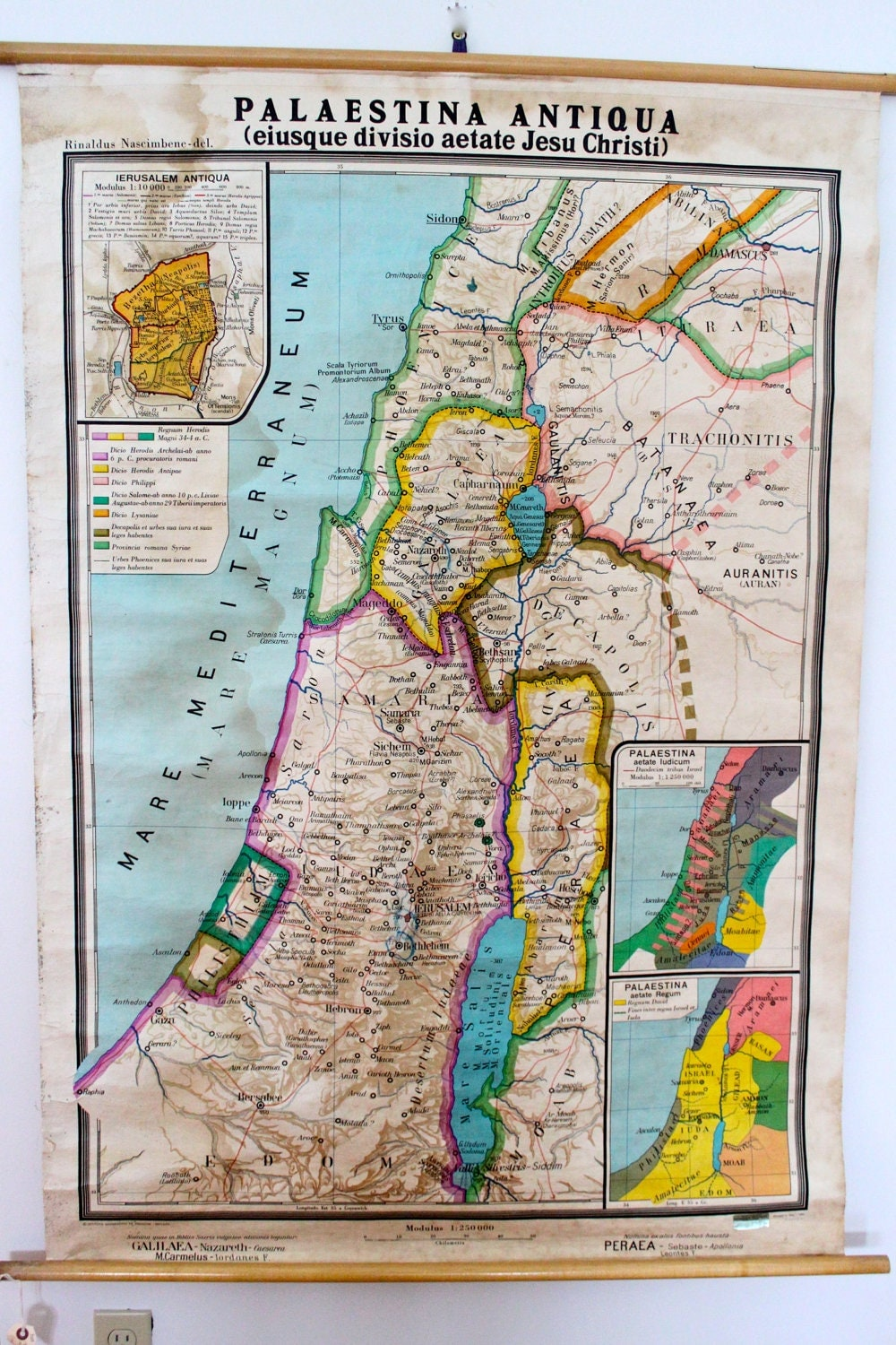 Vintage Linen Backed Ancient Palestine Map