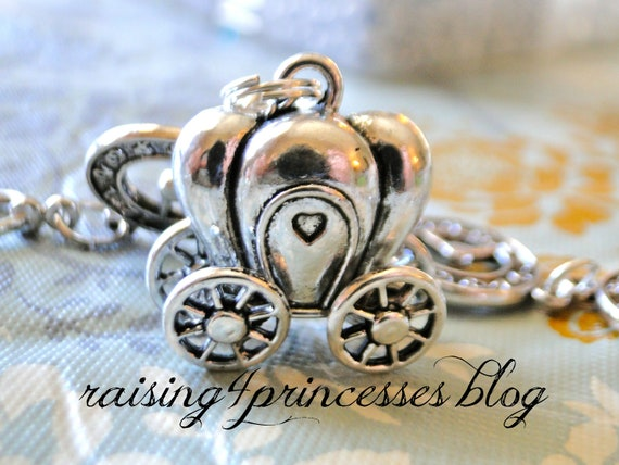 Wait for your Prince Bracelet and Earrings Set - Antique Silver Carriage with Moving Wheels - Pearl and Silver