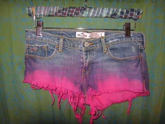 dip dyed NEON pink daisy duke shorty shorts