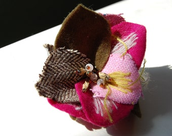 Mixed Media Flower with Pin Back