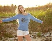Salt Water - Eco-friendly off the shoulder sweater in Eco Blue