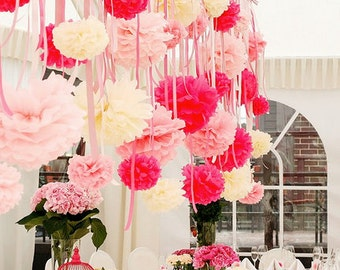 12  Tissue paper Pom Poms set  - mixed size  - pick your colors - very fluffy - hanging party decorations