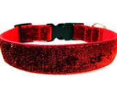 "Red Glitter Dog Collar 1"" Side Release Matching Dog Collar Flower Available"