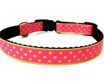 "Polka Dot Dog Collar Yellow and Pink 5/8"" small breed dogs"