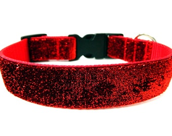 "Red Glitter Dog Collar 1"" Side Release Matching Dog Collar Flower Available SIZE LARGE"