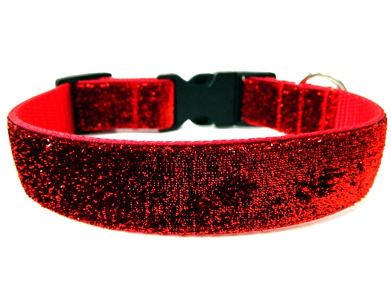 "Red Glitter Dog Collar 1"" Side Release Matching Dog Collar Flower Available SIZE SMALL"