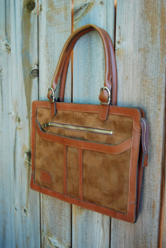Slender briefcase, laptop, or ipad bag,  caramel colored faux leather and suede.