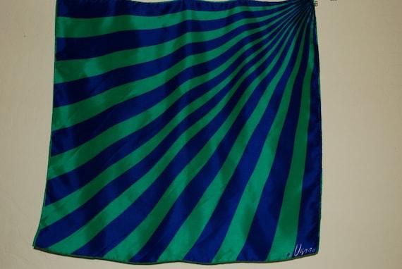 1960's Vera scarf, bold blue and green asymmetrical diagonal design.