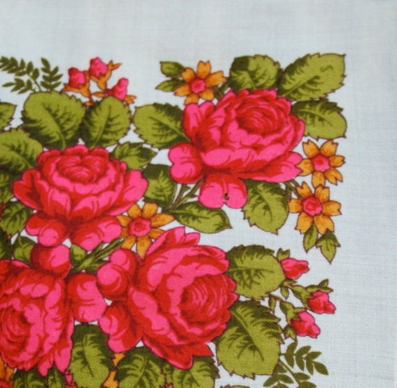 Reserved for Heather: Women's wool shawl, fringe border, hot pink roses, Russian folk design.