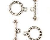 6 sets Quality Tibetan Tibet Silver Circle Bar OT Toggle Clasps Findings ( Brand NEW & High Quality )