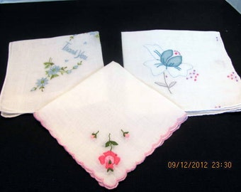 Set of 3 Embrodered Hankies Floral Embroidery on White Cotton