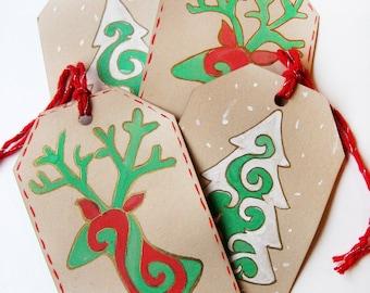 christmas gift tags assorted- set of 4