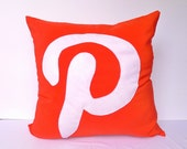 Geek pillow / cushion COVER - Pinterest, 16x16 inches, red white