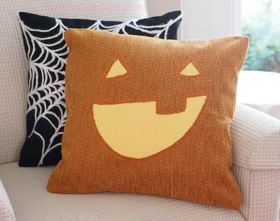 Jack o Lantern Pillow Cover Pumpkin Cute Halloween Decor 18 x 18