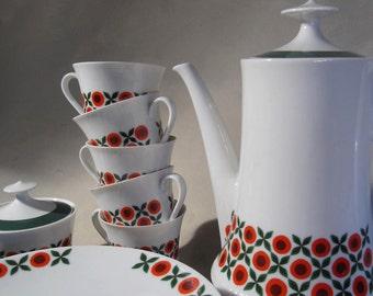 Modernist Tea set, Mitterteich Bavaria, China, Porcelain, 60-70s, 19 pcs