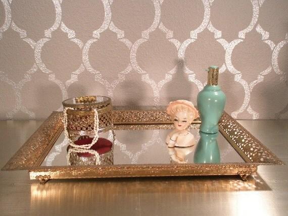 SALE - VINTAGE Mirror Vanity Tray with Floral Filigree Frame