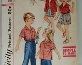 1950s Children's Summer Vacation Wardrobe Vintage Simpliicty Patterns